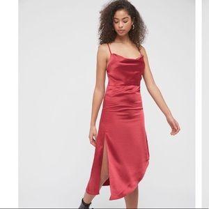 UO Satin Slit Side Midi Dress